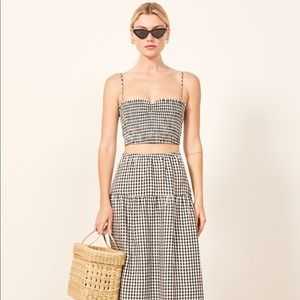 Reformation gingham kitty two piece linen crop top